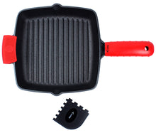 "Load image into Gallery viewer, Cast Iron Grill Pan (9.84"") with Extra Thick Silicone Hot Handle Holder, Assist Handle Holder, Grill Scraper"