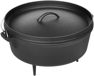 Pre-Seasoned Cast Iron Camp Dutch Oven with Legs - 4.1 qt (3.9 L), Including Lid Lifter