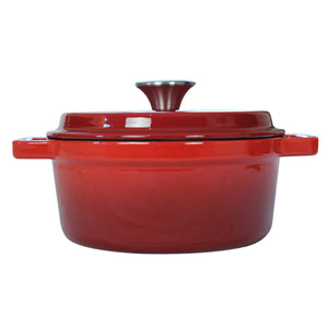 "Enameled Cast Iron Dutch Oven Pot (7.87"" / 20 cm diameter) with Dual Handle and Cover Casserole Dish - Round Red"