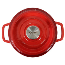 "Load image into Gallery viewer, Enameled Cast Iron Dutch Oven Pot (7.87"" / 20 cm diameter) with Dual Handle and Cover Casserole Dish - Round Red"