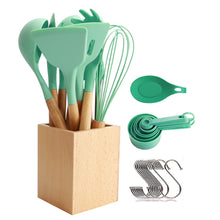 Load image into Gallery viewer, Utensils Set for Cooking with Silicone Head , Wood Handle and Wooden Container (23 Pieces + Bonus Hanging Hooks) -  Kitchen Utensil Tools Set - Green