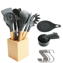Load image into Gallery viewer, Utensils Set for Cooking with Silicone Head , Wood Handle and Wooden Container (23 Pieces + Bonus Hanging Hooks) -  Kitchen Utensil Tools Set - Gray