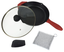 Load image into Gallery viewer, 12-Inch Cast Iron Skillet Set (Pre-Seasoned), Including Large & Assist Silicone Hot Handle Holders, Glass Lid, Cast Iron Cleaner, Scraper