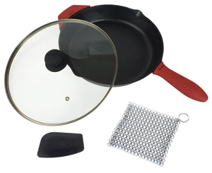 12-Inch Cast Iron Skillet Set (Pre-Seasoned), Including Large & Assist Silicone Hot Handle Holders, Glass Lid, Cast Iron Cleaner, Scraper