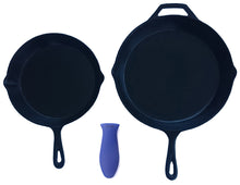 Load image into Gallery viewer, Silicone Hot Handle Holder + Assist Holder, Potholder (2-Pack Combo Blue) for Cast Iron Skillets, Pans, Frying Pans & Griddles, Metal and Aluminum Cookware Handles - Sleeve Grip, Handle Cover