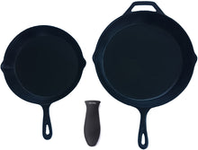 Load image into Gallery viewer, Silicone Hot Handle Holder + Assist Holder, Potholder (2-Pack Combo Black) for Cast Iron Skillets, Pans, Frying Pans & Griddles, Metal and Aluminum Cookware Handles - Sleeve Grip, Handle Cover