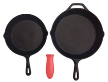 Load image into Gallery viewer, Silicone Hot Handle Holder + Assist Holder, Potholder (2-Pack Combo Red) for Cast Iron Skillets, Pans, Frying Pans & Griddles - Sleeve Grip, Handle Cover