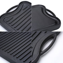 "Load image into Gallery viewer, Cast Iron Griddle (20"" by 10""), Reversible, Pre-Seasoned, Grill and Griddle Combo, BBQ, Campfire, fits over two stovetop burners"