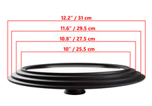 "Load image into Gallery viewer, Glass Lid Universal - Graduated Kitchen Lids Multisize 10"" / 25.5 cm, 10.8"" / 27.5 cm, 11.6"" / 29.5 cm (outer edges 12.2"" / 31 cm) for Pots and Pans, Heat Resistant Silicone Rim, Black"