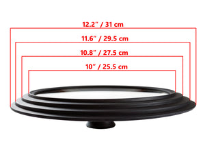 "Glass Lid Universal - Graduated Kitchen Lids Multisize 10"" / 25.5 cm, 10.8"" / 27.5 cm, 11.6"" / 29.5 cm (outer edges 12.2"" / 31 cm) for Pots and Pans, Heat Resistant Silicone Rim, Black"
