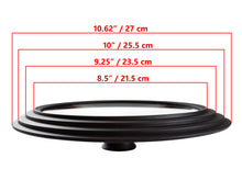 "Load image into Gallery viewer, Glass Lid Universal - Graduated Kitchen Lids Multisize 8.5"" / 21.5 cm, 9.25"" / 23.5 cm, 10"" / 25.5 cm (outer edges 10.6"" / 27 cm) Diameter for Pots and Pans, Heat Resistant Silicone Rim, Black"