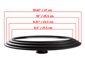 "Glass Lid Universal - Graduated Kitchen Lids Multisize 8.5"" / 21.5 cm, 9.25"" / 23.5 cm, 10"" / 25.5 cm (outer edges 10.6"" / 27 cm) Diameter for Pots and Pans, Heat Resistant Silicone Rim, Black"