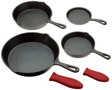 Load image into Gallery viewer, Cast Iron Skillets, Set Of 4 (Pre-seasoned) 10 Inch - 5.1 Inch, Including Large & Small Silicone Hot Handle Holders