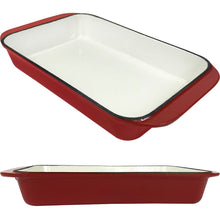 Load image into Gallery viewer, 2.9 Qt Enameled Cast Iron Rectangular Roaster, Casserole Dish, Lasagna Pan, Deep Roasting Pan, for Cooking and Baking - Red