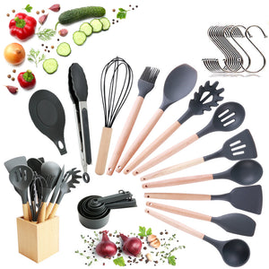 Utensils Set for Cooking with Silicone Head , Wood Handle and Wooden Container (23 Pieces + Bonus Hanging Hooks) -  Kitchen Utensil Tools Set - Gray