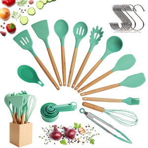 Utensils Set for Cooking with Silicone Head , Wood Handle and Wooden Container (23 Pieces + Bonus Hanging Hooks) -  Kitchen Utensil Tools Set - Green