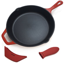 "Load image into Gallery viewer, 10.25"" Enameled Cast Iron Skillet Frying Pan, 1 Silicone Hot Handle Holder and 1 Silicone Potholder for the Assist Handle"