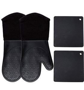 Silicone Oven Mitts and Potholders (4-Piece Set), Kitchen Counter Safe Trivet Mats - Advanced Heat Resistant Pot Holders, Non-Slip Textured Grip Oven Mitt - Black