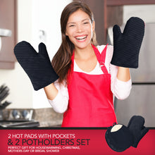 Load image into Gallery viewer, Pot Holders and Oven Mitts Gloves with Silicone Stripes, 2 Potholders & 2 Hot Pads with Pockets Set , 4 Piece Heat Resistant Kitchen Linens Set - Black