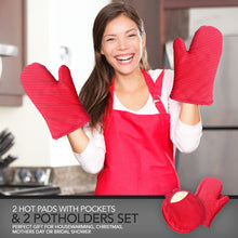 Load image into Gallery viewer, Pot Holders and Oven Mitts Gloves with Silicone Stripes, 2 Potholders & 2 Hot Pads with Pockets Set , 4 Piece Heat Resistant Kitchen Linens Set - Red