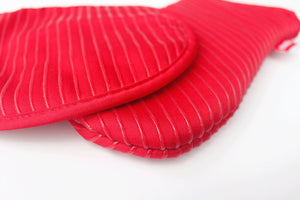 Pot Holders and Oven Mitts Gloves with Silicone Stripes, 2 Potholders & 2 Hot Pads with Pockets Set , 4 Piece Heat Resistant Kitchen Linens Set - Red