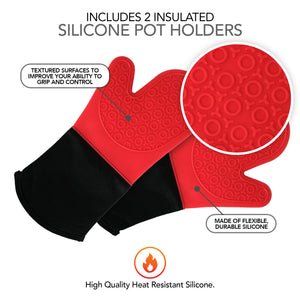 Silicone Oven Mitts and Potholders (4-Piece Set), Kitchen Counter Safe Trivet Mats - Advanced Heat Resistant Pot Holders, Non-Slip Textured Grip Oven Mitt - Red