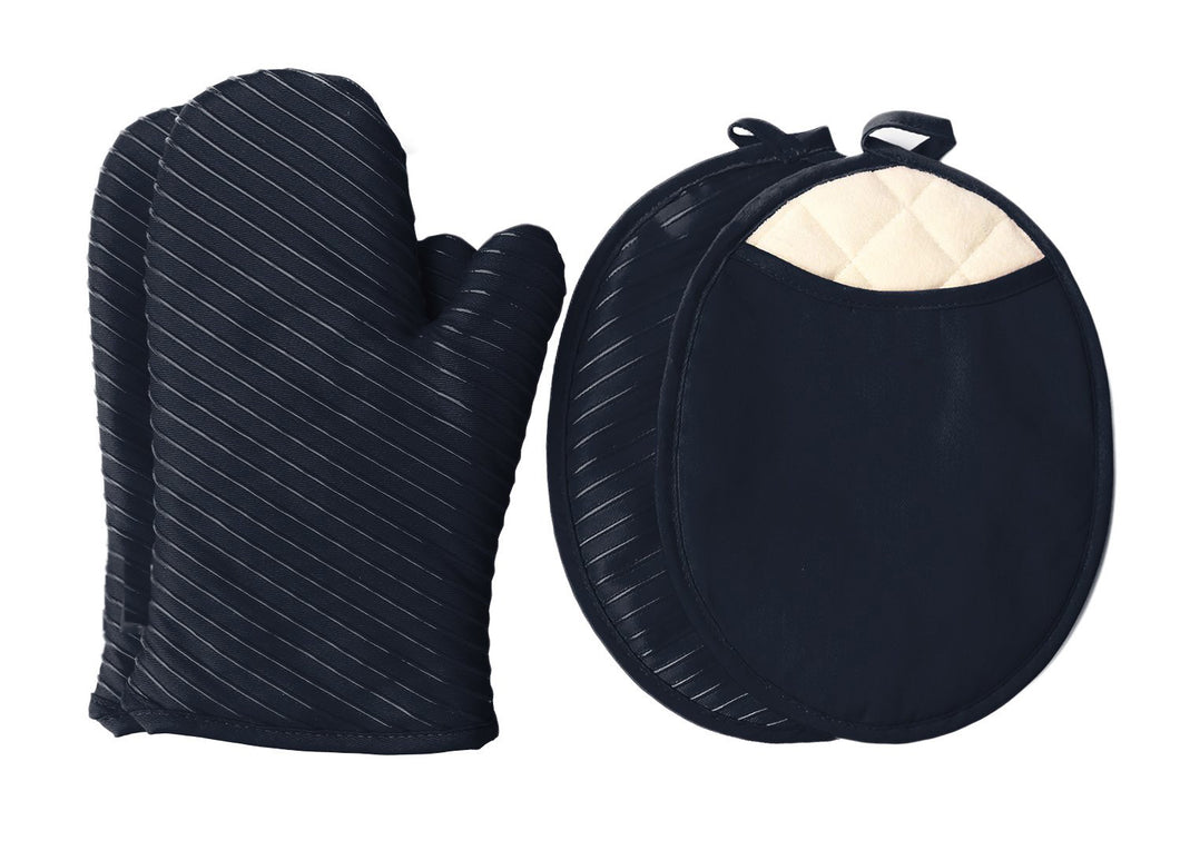 Pot Holders and Oven Mitts Gloves with Silicone Stripes, 2 Potholders & 2 Hot Pads with Pockets Set , 4 Piece Heat Resistant Kitchen Linens Set - Black