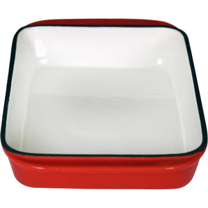 2.9 Qt Enameled Cast Iron Rectangular Roaster, Casserole Dish, Lasagna Pan, Deep Roasting Pan, for Cooking and Baking - Red