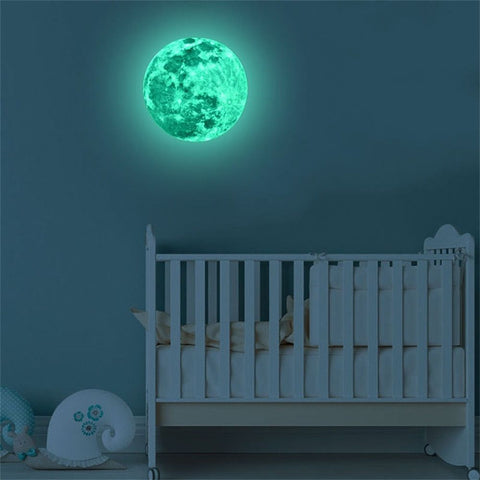 Glow In The Dark Stickers for Kids Room | Luminous Moon Earth