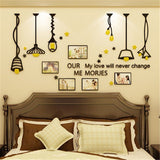 Chandelier Photo frame 3D Wall stickers restaurant Living Room