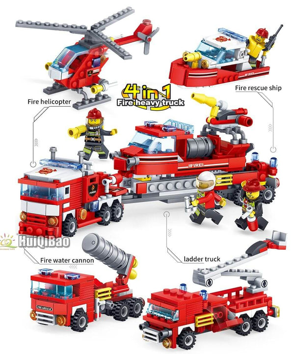 Construblock Fire Truck And Fire Station building block set 387 pieces