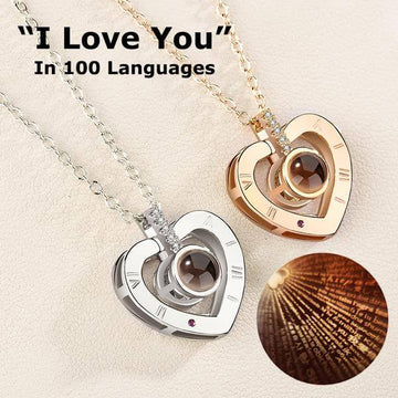 I LOVE YOU Heart Necklace 100 Languages Projection