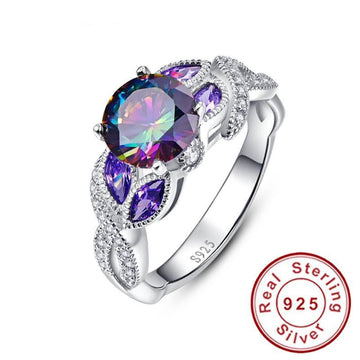 Rainbow Topaz Sterling Silver Rings | Sapphire Engagement Rings