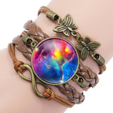 Nebula Space Universe Galaxy Crescent Glass Cabochon Bracelets