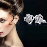 Flower Crystal Stud Earrings Gift for Women