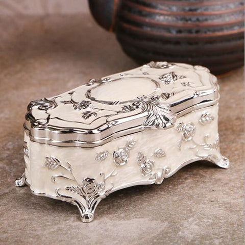 Vintage Jewelry Case Trinket Box Flower Carved