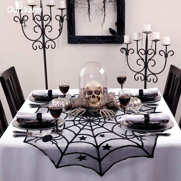 Halloween Party Decoration Spiderweb Table Covers 100cm Black Lace