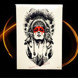 Black Indian Tribal Lion Warrior Waterproof Temporary Tattoo Sticker