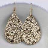 Glitter Teardrop Leather Earrings