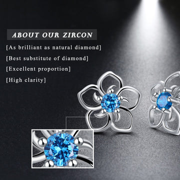 Stud Earrings Flower Pattern Blue