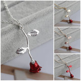 Red Rose Flower Pendant Necklace Women Valentine Gifts
