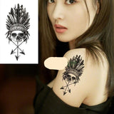 Waterproof Temporary Fox Wolf Wolves Whale Owl Geometric Animal Tattoo