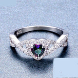 Sterling Silver Mystic Fire Topaz Rings Heart Shaped For Women