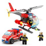 83pcs Firefighting Fire Helicopter Car Building Blocks
