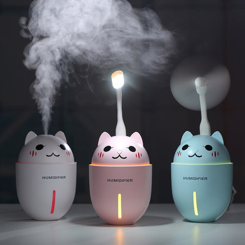 3 in 1 USB Air Humidifier Ultrasonic Cool-Mist With LED Light and Fan