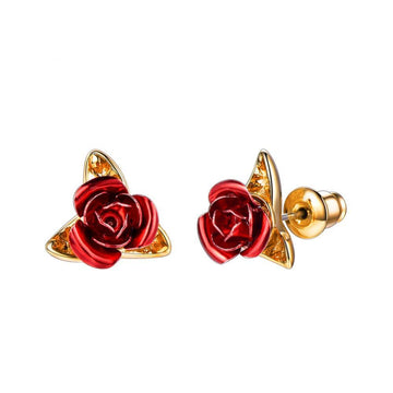 Cute Red Rose Flowers Stud Earring