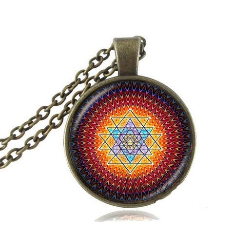 Fashion Buddhist Sri Yantra Pendant Necklace