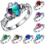 Women Irish Claddagh Heart Shaped Crystal Sterling Silver Rings