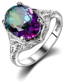 Sterling Silver Genuine Rainbow Fire Mystic Topaz Ring