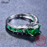 Sterling Silver Square Emerald Rings For Women